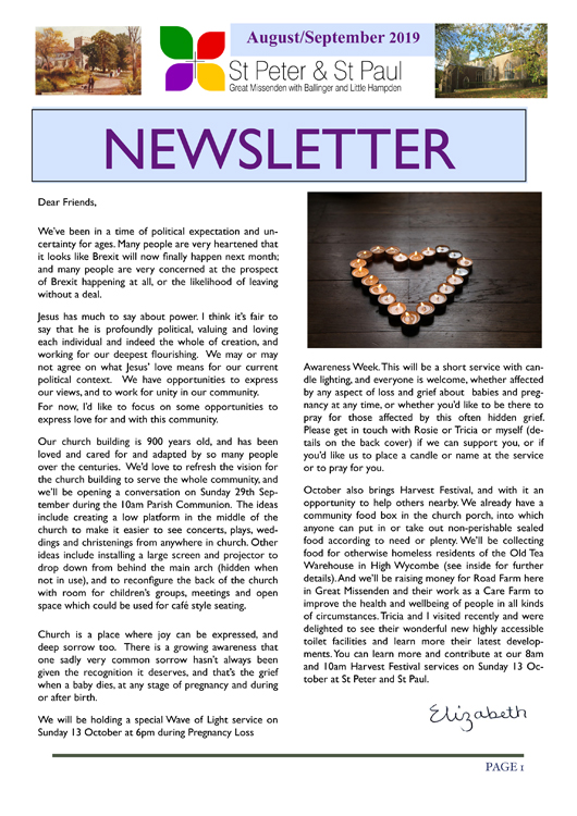 Aug Sept 2019 Newsletter cover